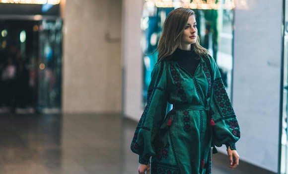 Design Ukrainian embroidered dress on the streets of New York