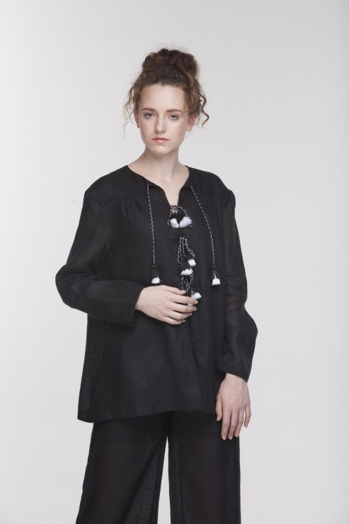 """Dream"" black linen pajamas set photo"