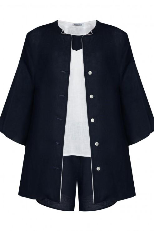 """Dream"" white and blue linen pajamas set photo"