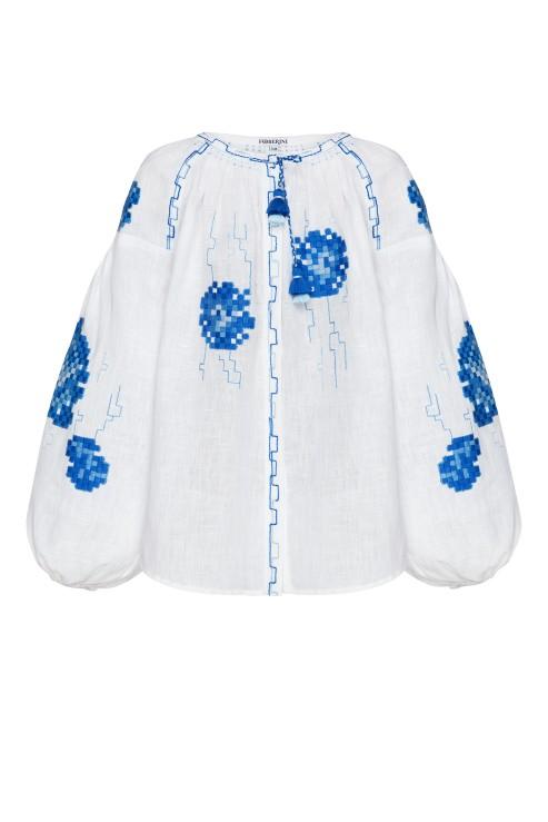 """Camellia"" children's blue and white blouse photo"