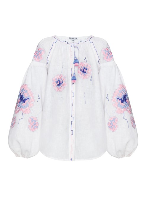 """""""Camellia"""" white and pink blouse photo"""
