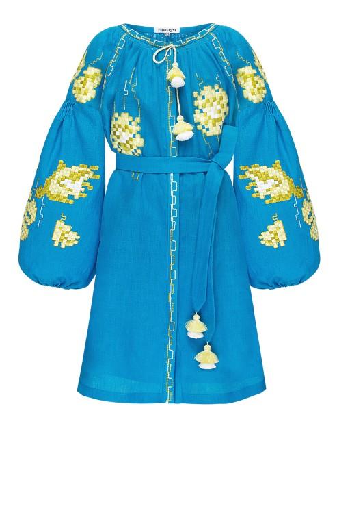 """Camelia"" kids turquoise dress photo"