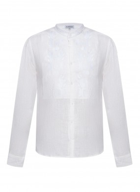 """""""Sich"""" white shirt with white embroidery"""