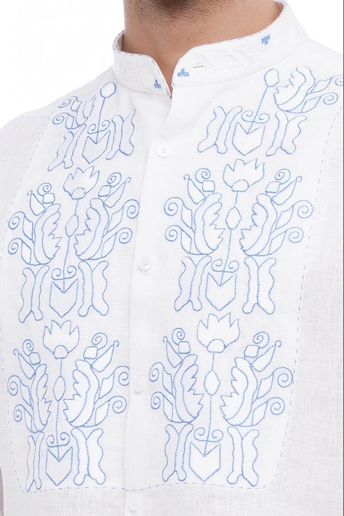 """Sich"" white shirt with blue embroidery photo"