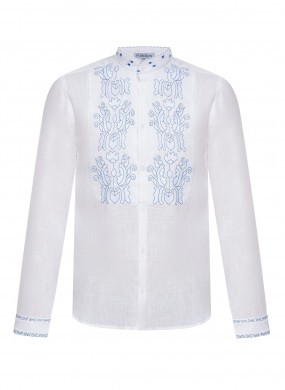 """""""Sich"""" white shirt with blue embroidery"""