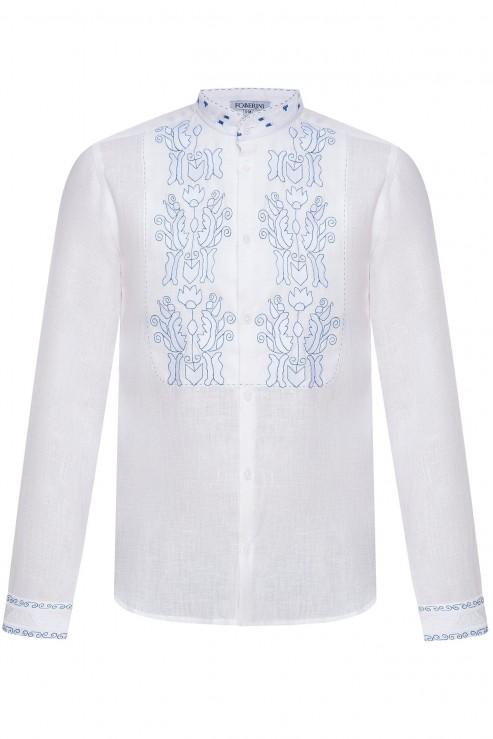 """""""Січ"""" біла сорочка з блакитною вишивкою"""
