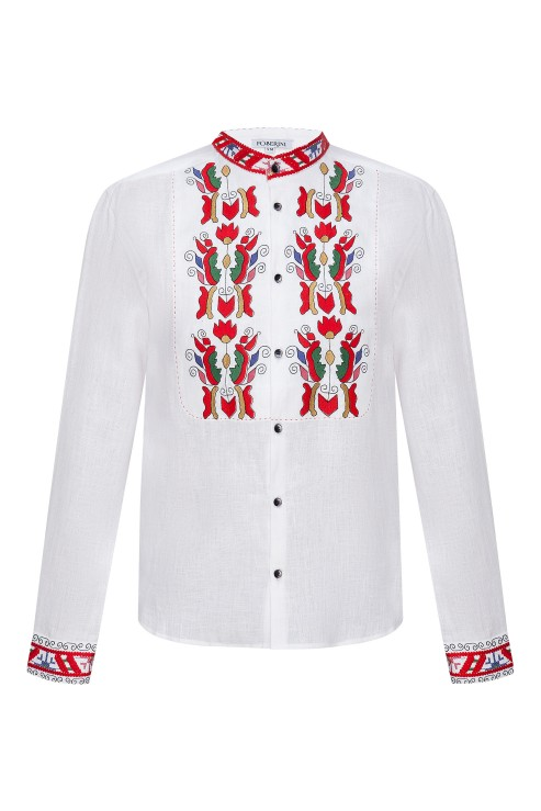"""""""Sich"""" white embroidery with colorful ornament photo"""