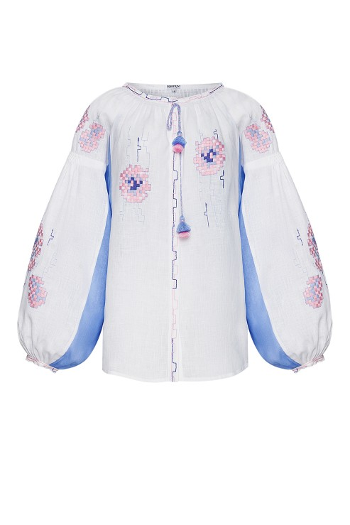 """Camelia"" white and purple blouse photo"