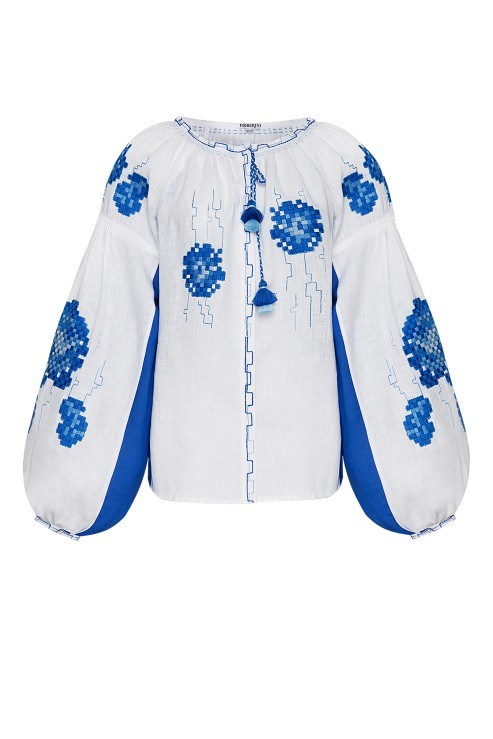 """Camellia"" white and blue blouse photo"