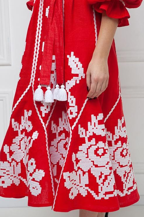 """Marichka"" red midi-dress photo"