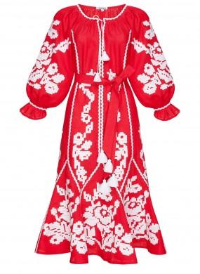 """""""Marichka"""" red midi-dress"""