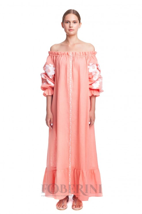 """""""Apricot Blossom"""" embroidered dress photo"""