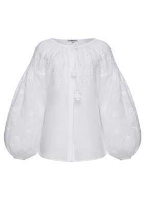 """Pearl"" white jewelry blouse"