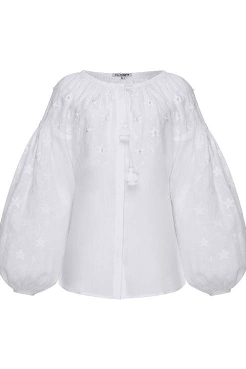 """""""Pearl"""" white jewelry blouse"""