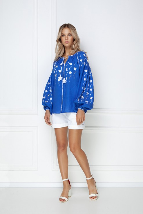 """""""Pearls"""" blue jewelry blouse photo"""