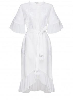 """Daisy"" white midi dress"