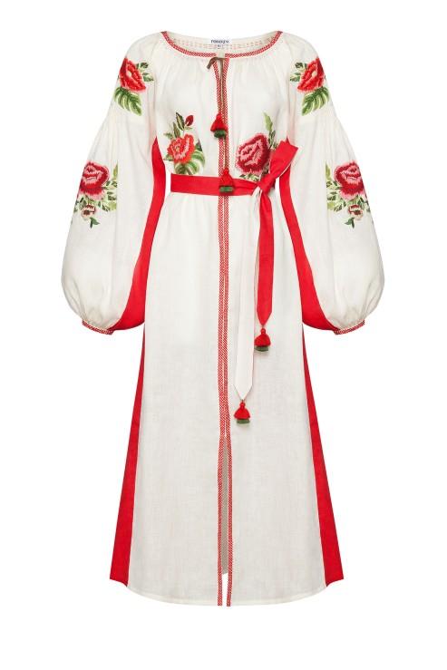 """Flora"" beige red midi dress photo"
