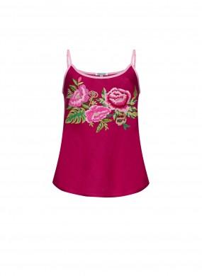"""Flora"" burgundy top"