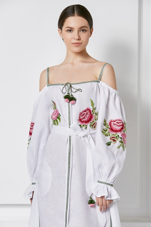 """""""Flora"""" white dress with bare shoulders photo"""