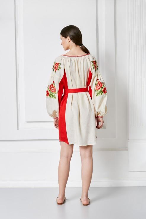 """""""Flora"""" beige red mini dress photo"""