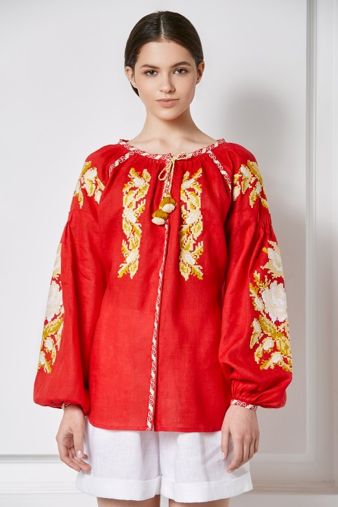 """""""Claire"""" red blouse photo"""