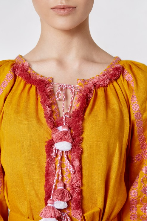"""Gold"" mustard dress with pink embroidery photo"
