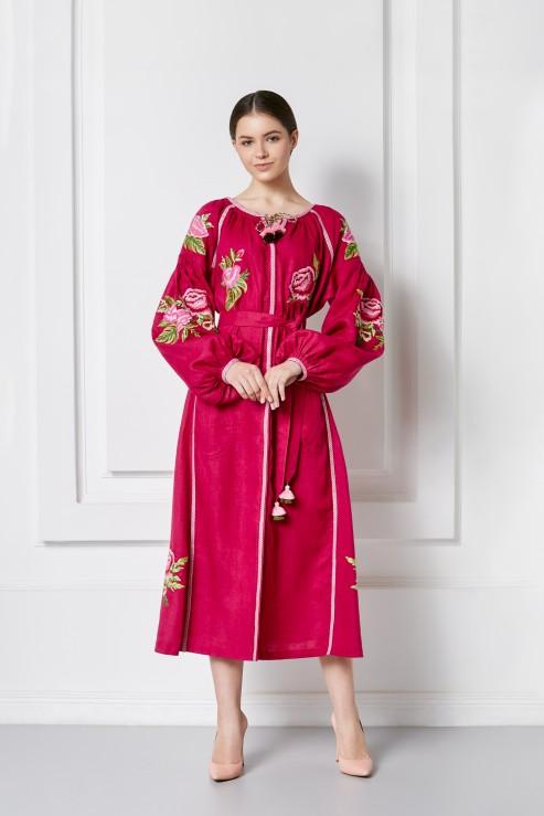 """Flora Chic"" burgundy midi dress photo"