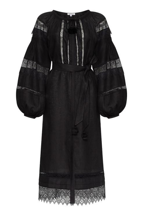"""""""Dominica"""" black midi dress with lace photo"""
