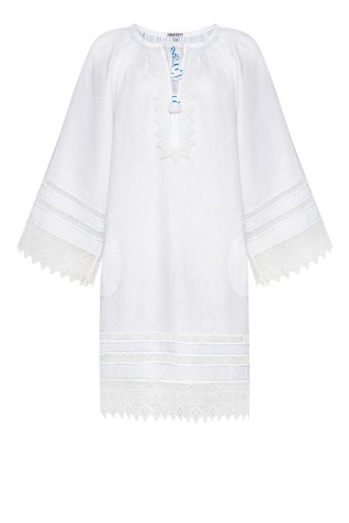 """""""Carolina"""" white tunic with lace photo"""