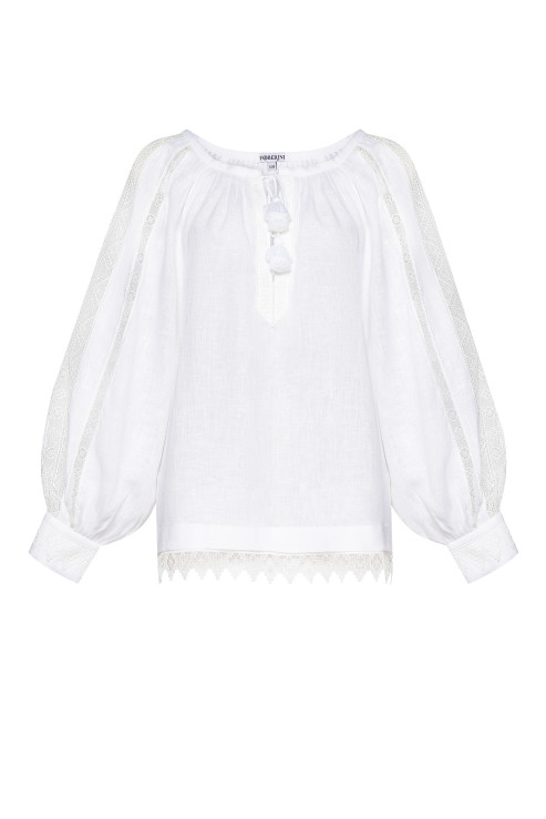 """""""Milana"""" white blouse with lace photo"""