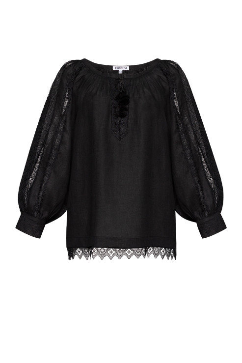 """""""Milana"""" black blouse with lace photo"""